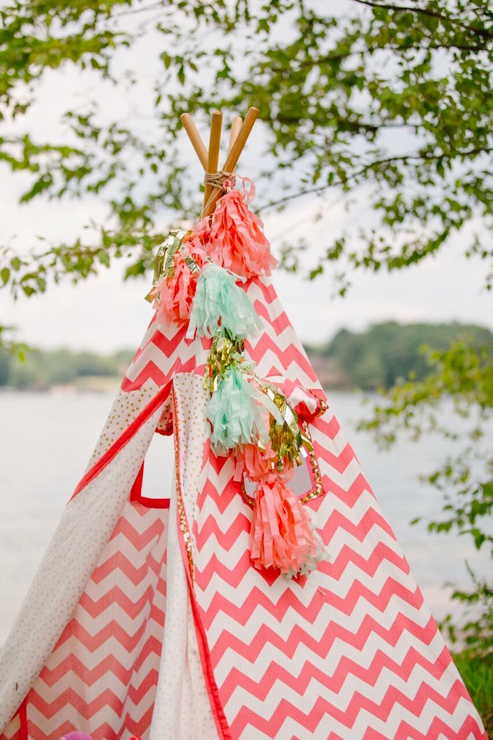 Teepee bunting from a Watercolor Mermaid Birthday Party on Kara's Party Ideas | KarasPartyIdeas.com (48)