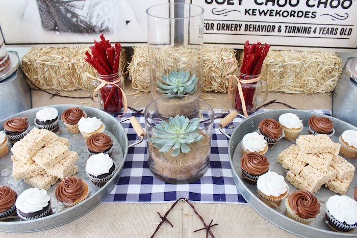 Dessert tabletop from a Western Rodeo Birthday Party on Kara's Party Ideas | KarasPartyIdeas.com (17)