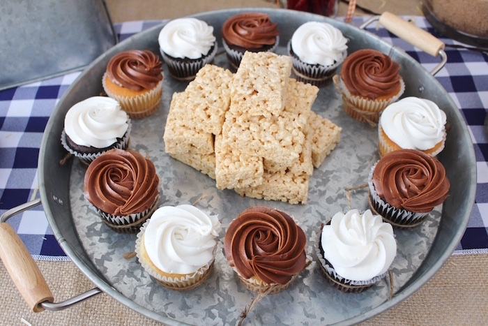 Cupcakes & Rice Krispie Treats on a galvanized tray from a Western Rodeo Birthday Party on Kara's Party Ideas | KarasPartyIdeas.com (15)