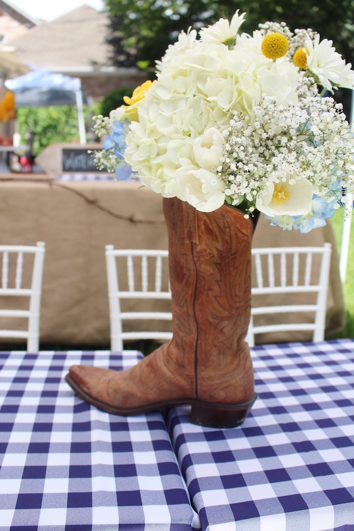 Boot centerpiece from a Western Rodeo Birthday Party on Kara's Party Ideas | KarasPartyIdeas.com (23)