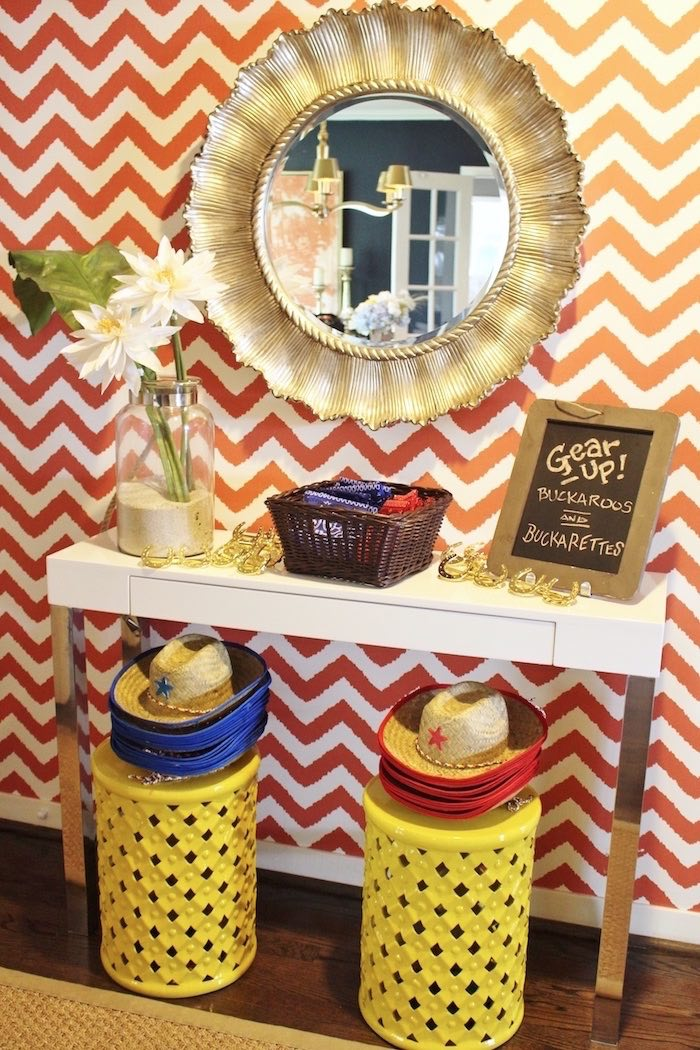 Dress-up station from a Western Rodeo Birthday Party on Kara's Party Ideas | KarasPartyIdeas.com (22)