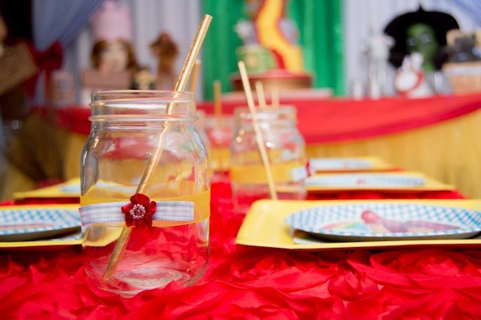 Mason jar drink cup from a Wizard of Oz Birthday Party on Kara's Party Ideas | KarasPartyIdeas.com (14)