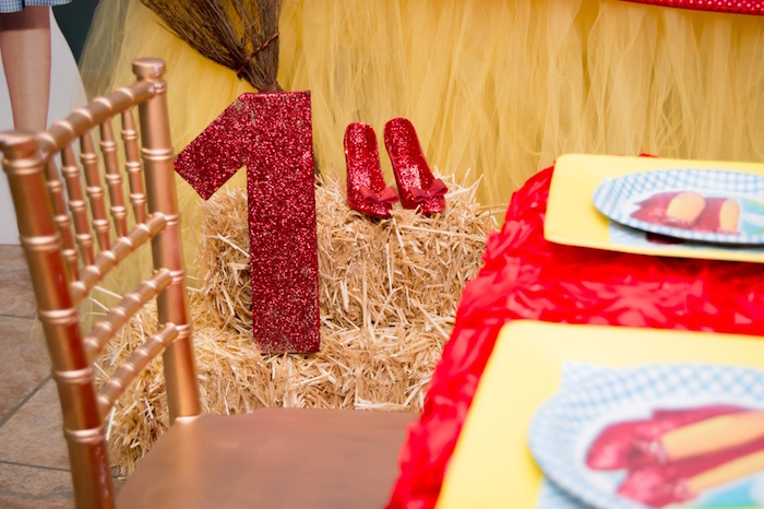 """Glitter """"1"""" and Dorothy's shoes from a Wizard of Oz Birthday Party on Kara's Party Ideas 