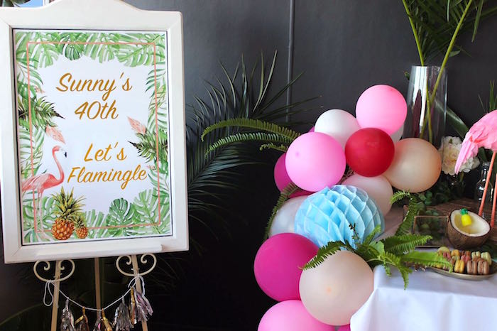 Tropical party sign & balloon garland from a 40th Birthday Tropical Soiree on Kara's Party Ideas | KarasPartyIdeas.com (20)