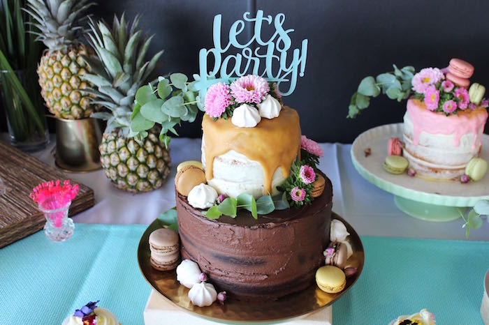 Tropical birthday cake from a 40th Birthday Tropical Soiree on Kara's Party Ideas | KarasPartyIdeas.com (18)