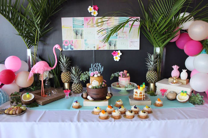 Tropical dessert spread from a 40th Birthday Tropical Soiree on Kara's Party Ideas | KarasPartyIdeas.com (16)