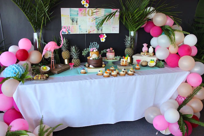 Tropical dessert spread from a 40th Birthday Tropical Soiree on Kara's Party Ideas | KarasPartyIdeas.com (15)