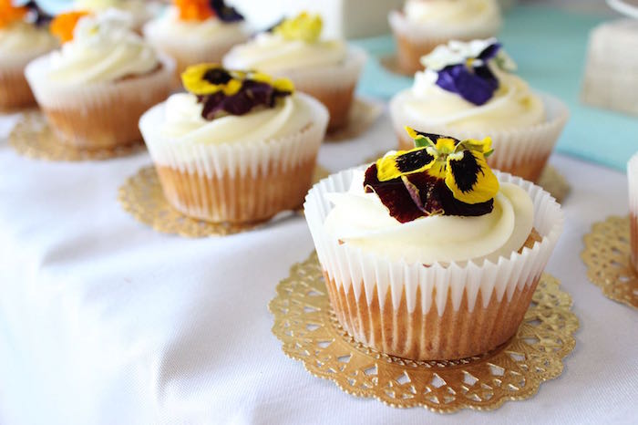 Flower topped cupcakes from a 40th Birthday Tropical Soiree on Kara's Party Ideas | KarasPartyIdeas.com (10)