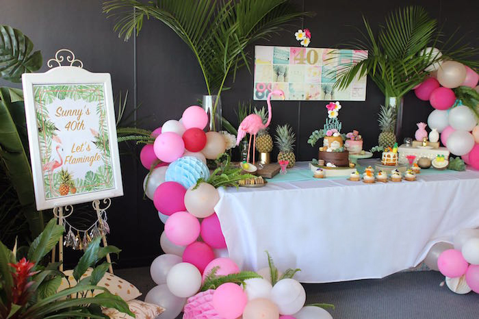 Balloon garland & dessert spread from a 40th Birthday Tropical Soiree on Kara's Party Ideas | KarasPartyIdeas.com (8)