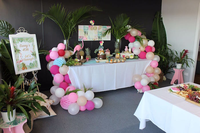 Tropical Dessert Table From A 40th Birthday Soiree On Karas Party Ideas