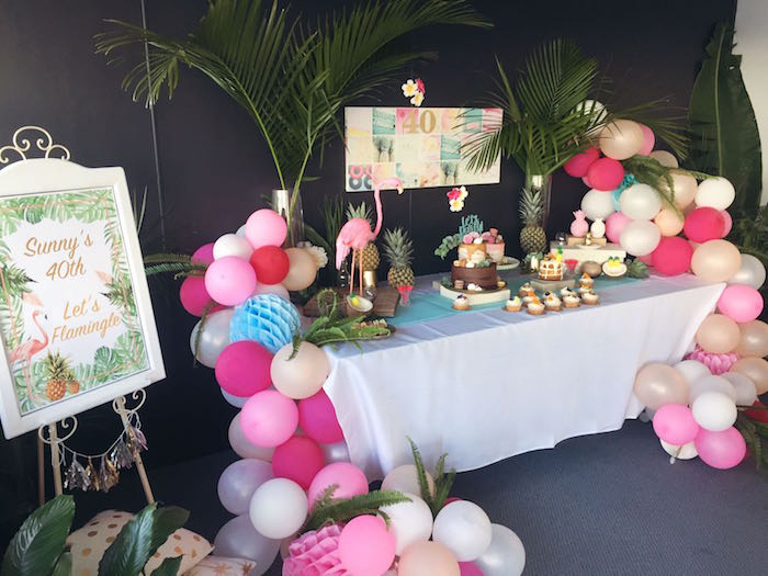Party spread from a 40th Birthday Tropical Soiree on Kara's Party Ideas | KarasPartyIdeas.com (26)