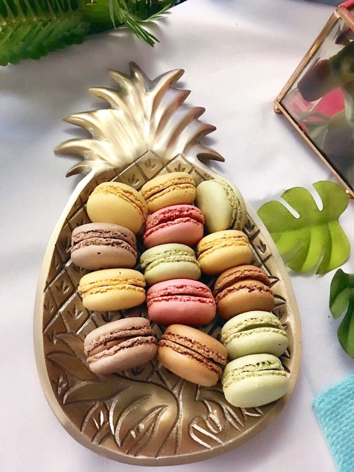 Colorful macarons in a gold pineapple dish from a 40th Birthday Tropical Soiree on Kara's Party Ideas | KarasPartyIdeas.com (23)