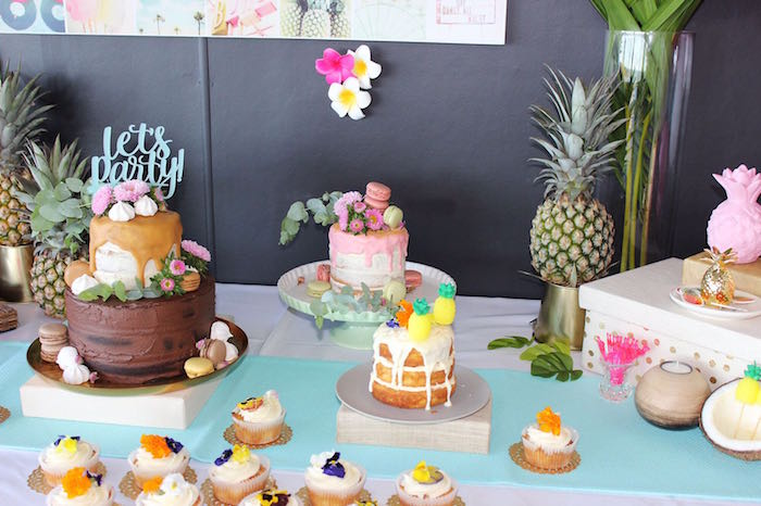 Tropical cakes from a 40th Birthday Tropical Soiree on Kara's Party Ideas | KarasPartyIdeas.com (21)
