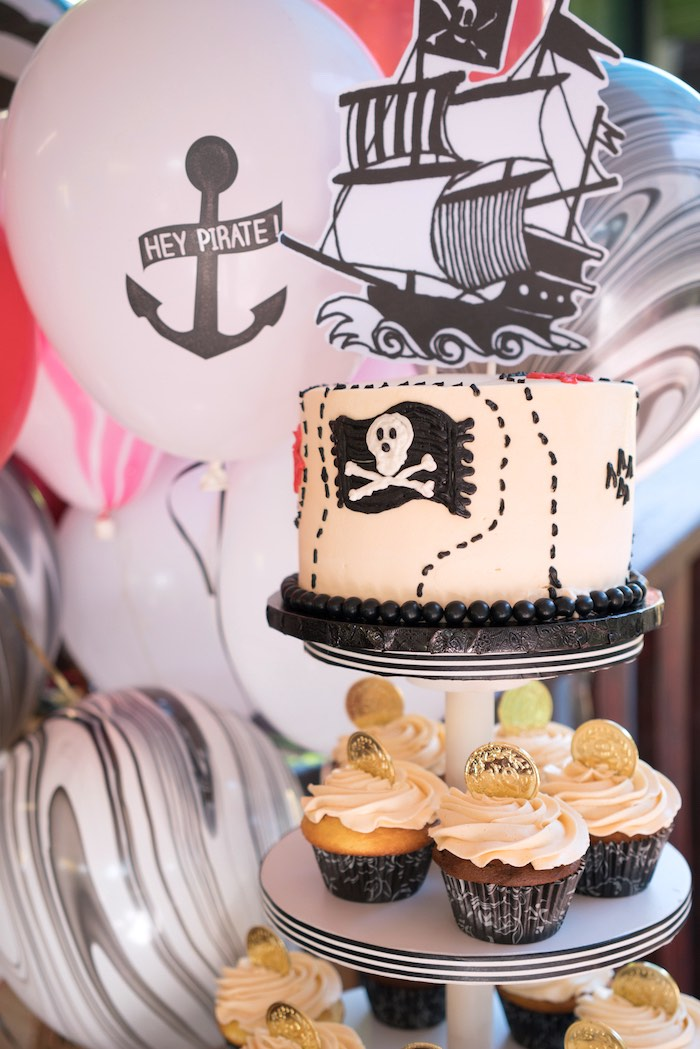 Pirate cake and cupcakes from A Pirate's Life for Three Birthday Party on Kara's Party Ideas   KarasPartyIdeas.com (17)