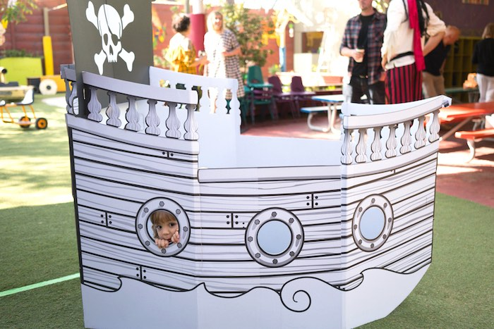 Pirate ship from A Pirate's Life for Three Birthday Party on Kara's Party Ideas   KarasPartyIdeas.com (8)