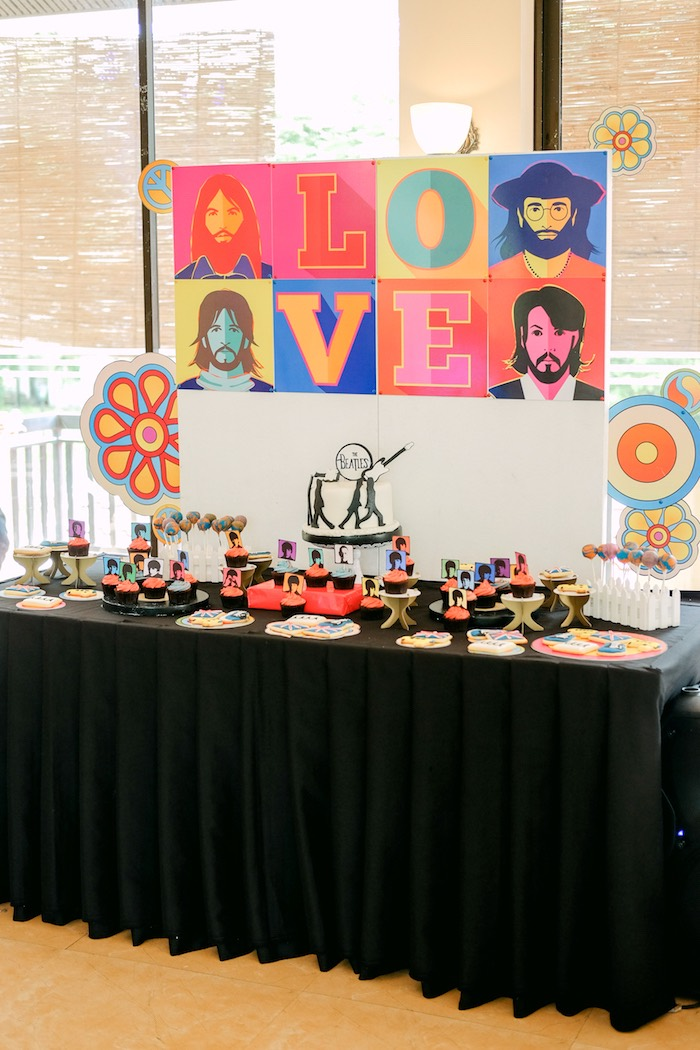 Beatles-inspired dessert table from a Beatles Birthday Party on Kara's Party Ideas | KarasPartyIdeas.com (18)