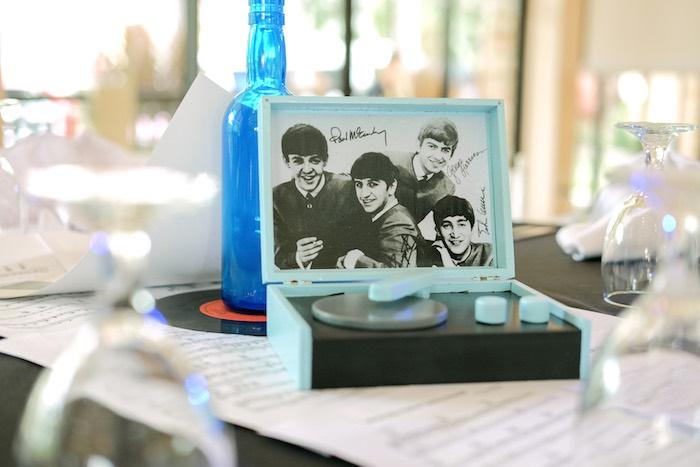 Beatles turntable centerpiece from a Beatles Birthday Party on Kara's Party Ideas | KarasPartyIdeas.com (16)
