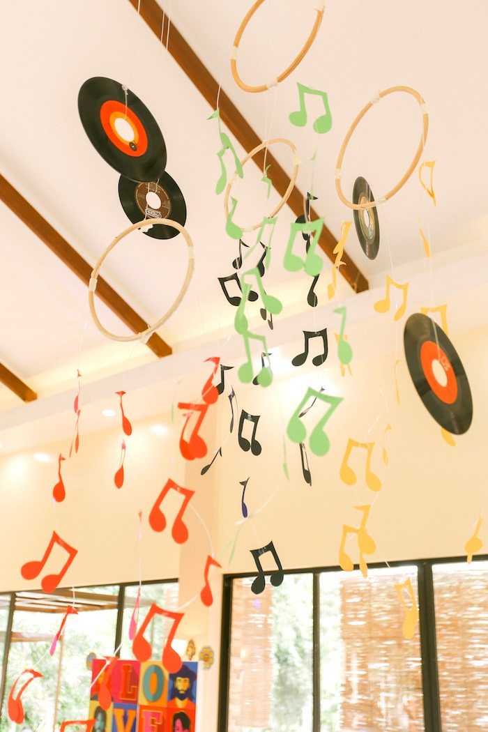 Music note and vinyl record bunting from a Beatles Birthday Party on Kara's Party Ideas | KarasPartyIdeas.com (29)