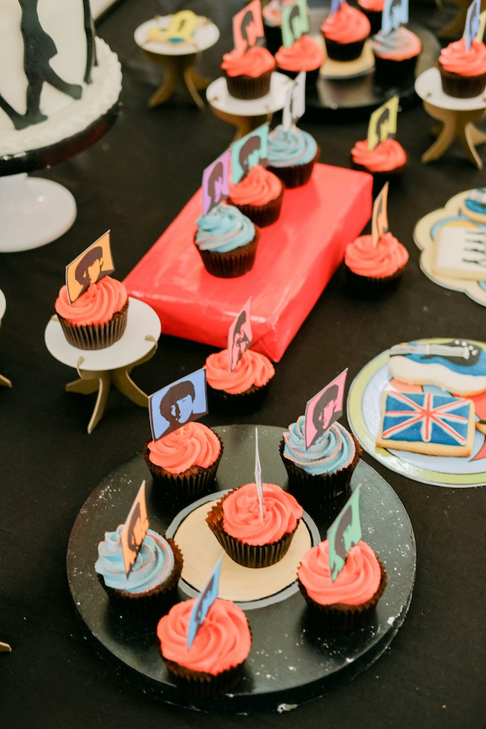 Beatles cupcakes on vinyl records from a Beatles Birthday Party on Kara's Party Ideas | KarasPartyIdeas.com (22)