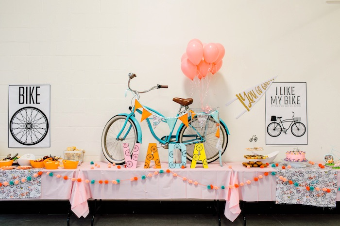 Bicycle party table from a Bike Themed Birthday Party on Kara's Party Ideas | KarasPartyIdeas.com (26)