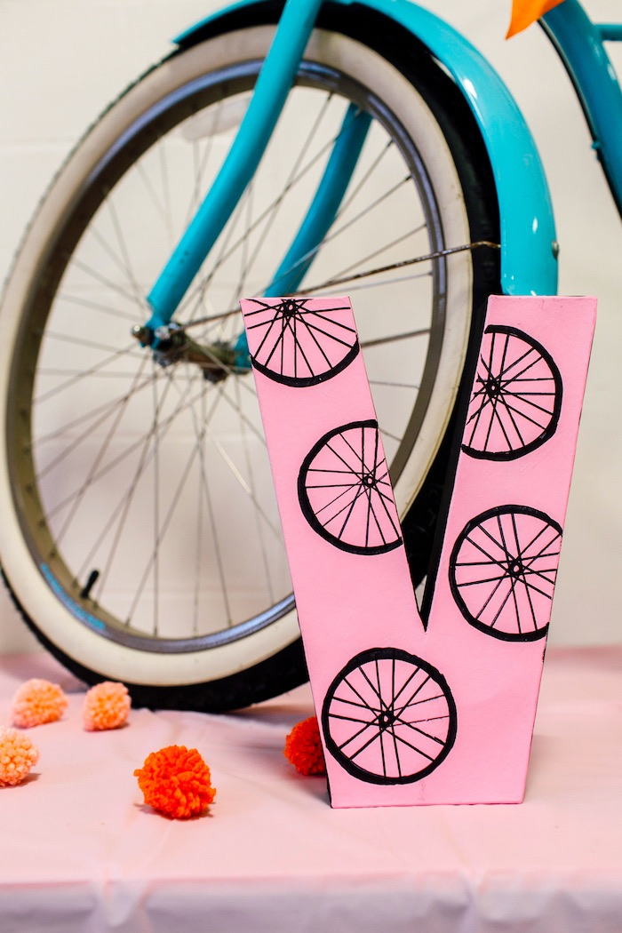 Bike tire block letter from a Bike Themed Birthday Party on Kara's Party Ideas | KarasPartyIdeas.com (25)