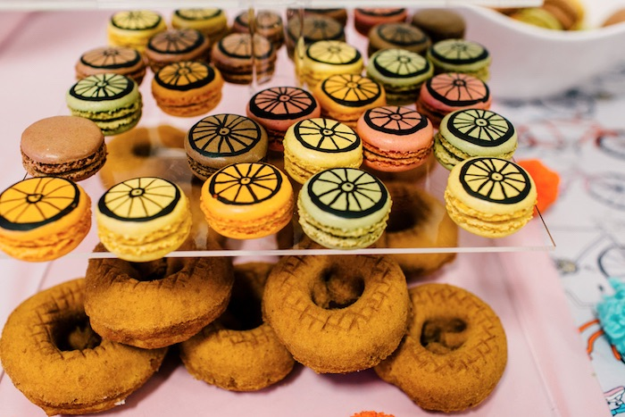 Bike tire macarons and doughnuts from a Bike Themed Birthday Party on Kara's Party Ideas | KarasPartyIdeas.com (23)