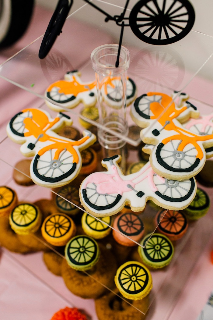 Bike cookies and macarons from a Bike Themed Birthday Party on Kara's Party Ideas | KarasPartyIdeas.com (22)