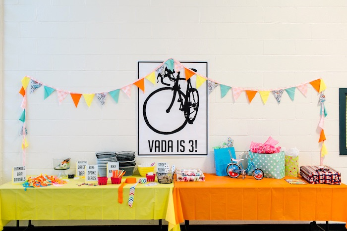 Bicycle party table from a Bike Themed Birthday Party on Kara's Party Ideas | KarasPartyIdeas.com (37)