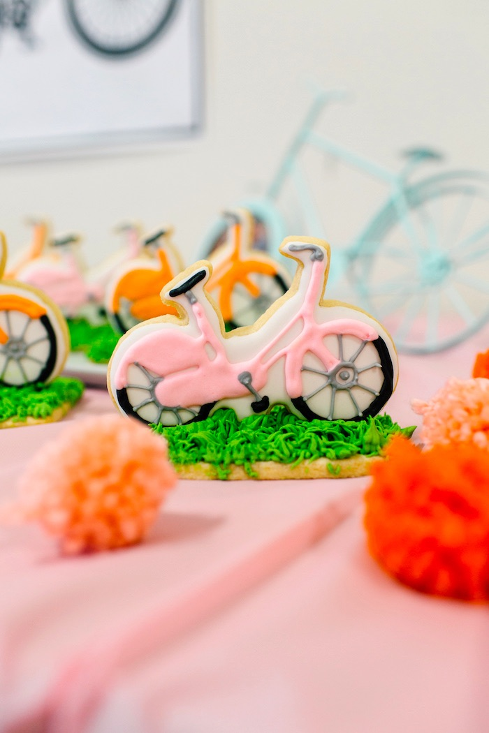 Pink bicycle cookie from a Bike Themed Birthday Party on Kara's Party Ideas | KarasPartyIdeas.com (18)