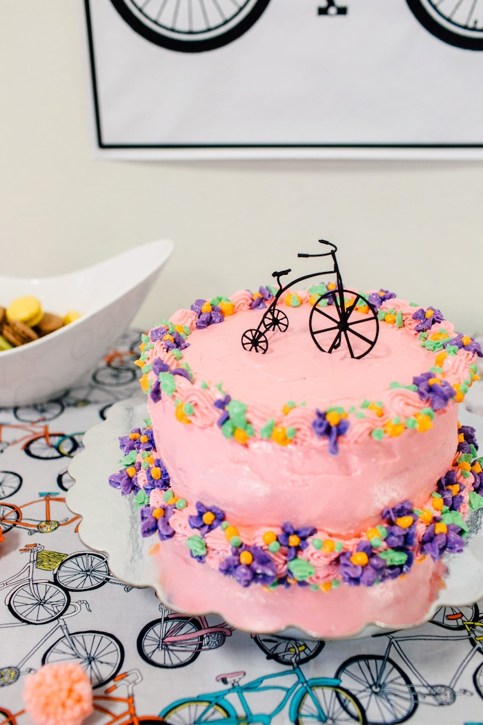 Bicycle cake from a Bike Themed Birthday Party on Kara's Party Ideas | KarasPartyIdeas.com (14)