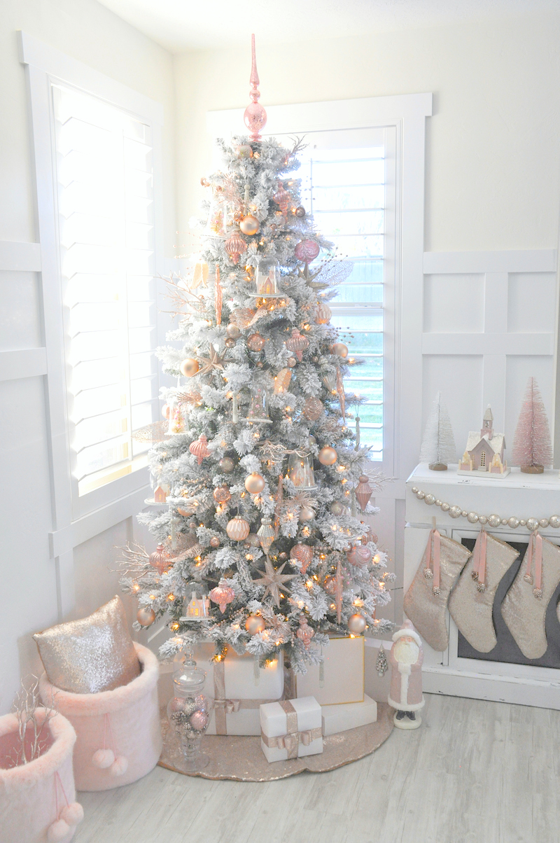 blush pink rose gold white flocked vintage inspired christmas tree by karas party ideas