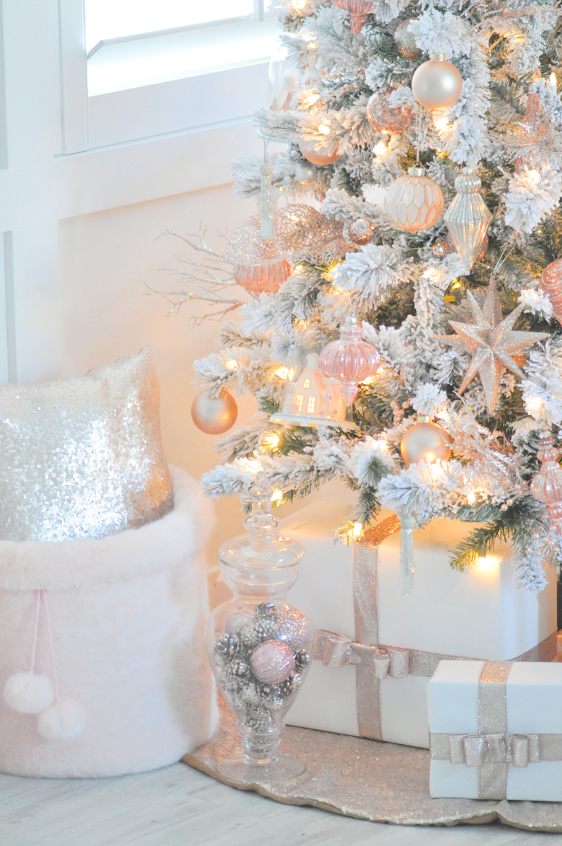 blush pink and white flocked vintage inspired christmas tree by karas party ideas kara allen - Blush Christmas Decorations
