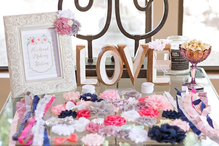 Hair ties and bows from a Boho Chic Baby Shower on Kara's Party Ideas | KarasPartyIdeas.com (46)