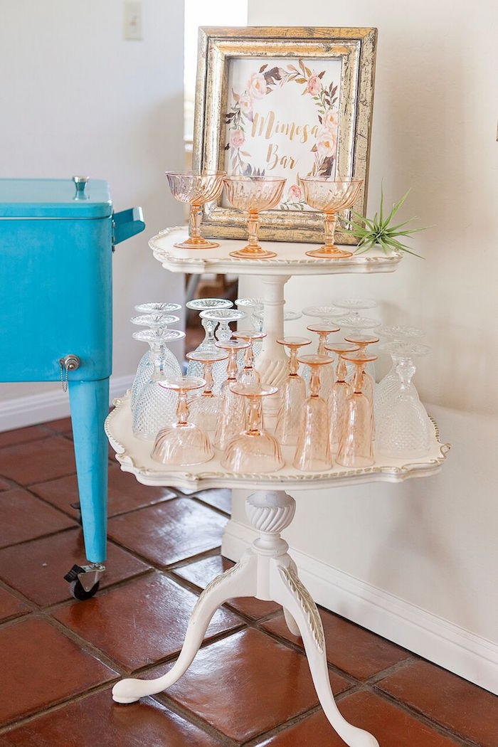 Mimosa bar + rose gold glasses from a Boho Chic Baby Shower on Kara's Party Ideas | KarasPartyIdeas.com (44)