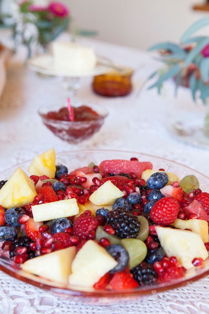 Fruit salad from a Boho Chic Baby Shower on Kara's Party Ideas | KarasPartyIdeas.com (43)