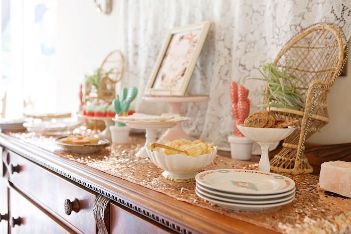 Food Party Table From A Boho Chic Baby Shower On Karas Ideas