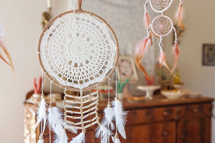 Dreamcatcher decoration from a Boho Chic Baby Shower on Kara's Party Ideas | KarasPartyIdeas.com (38)