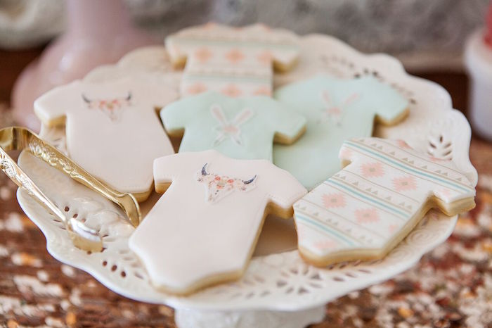 Onesie cookies from a Boho Chic Baby Shower on Kara's Party Ideas | KarasPartyIdeas.com (36)