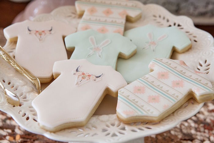 Onesie cookies from a Boho Chic Baby Shower on Kara's Party Ideas | KarasPartyIdeas.com (35)