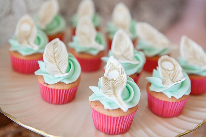 Feather cupcakes from a Boho Chic Baby Shower on Kara's Party Ideas | KarasPartyIdeas.com (33)