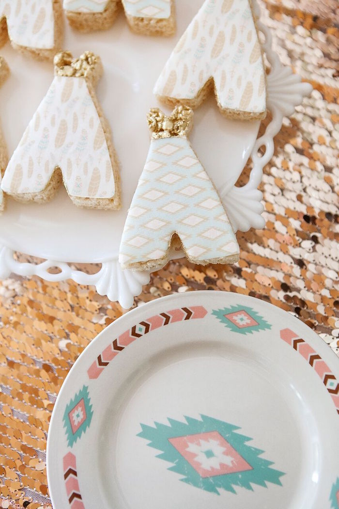 Tribal plate & teepee cookies from a Teepee cookies from a Boho Chic Baby Shower on Kara's Party Ideas | KarasPartyIdeas.com (32)