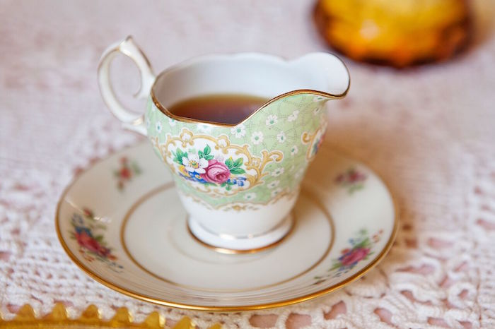 Serving cup and saucer from a Boho Chic Baby Shower on Kara's Party Ideas | KarasPartyIdeas.com (25)