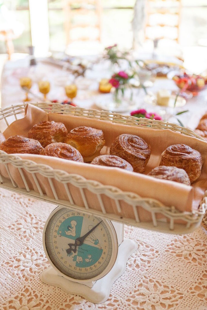 Sweets on a scale from a Boho Chic Baby Shower on Kara's Party Ideas   KarasPartyIdeas.com (21)
