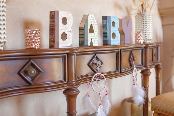 Baby block letters and dreamcatchers from a Boho Chic Baby Shower on Kara's Party Ideas | KarasPartyIdeas.com (54)