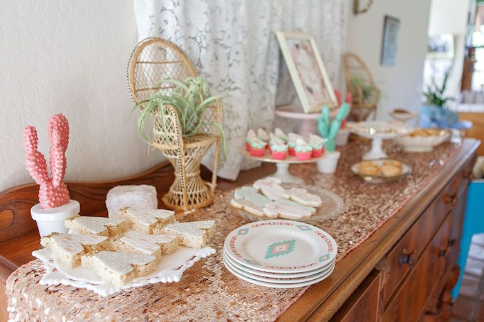 Sweet tablescape from a Boho Chic Baby Shower on Kara's Party Ideas | KarasPartyIdeas.com (14)