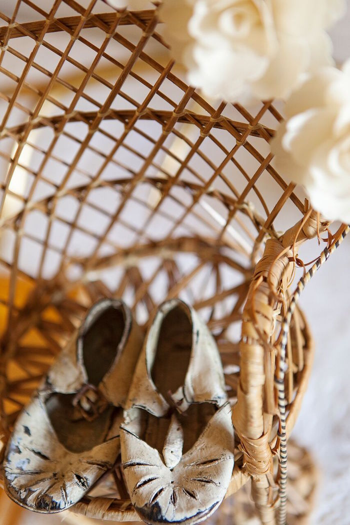 Baby shoes from a Boho Chic Baby Shower on Kara's Party Ideas   KarasPartyIdeas.com (13)