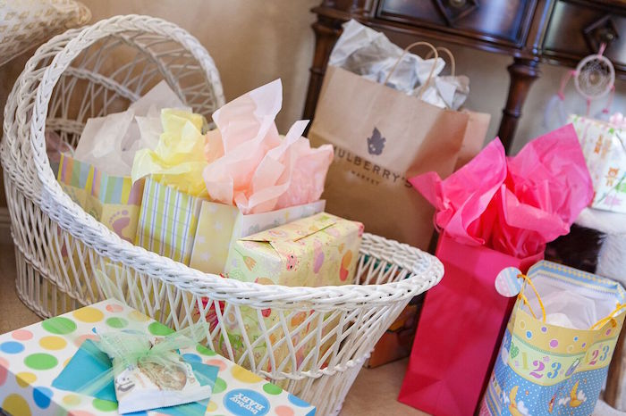 Bassinet basket for gifts from a Boho Chic Baby Shower on Kara's Party Ideas | KarasPartyIdeas.com (12)