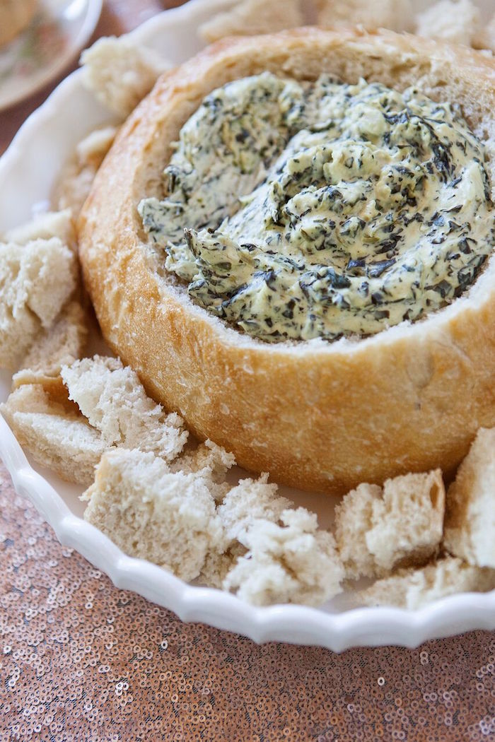 Bread bowl soup from a Boho Chic Baby Shower on Kara's Party Ideas   KarasPartyIdeas.com (11)