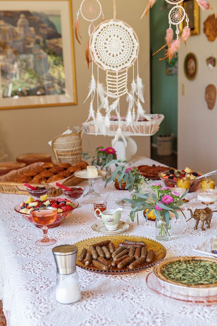 Party table from a Boho Chic Baby Shower on Kara's Party Ideas | KarasPartyIdeas.com (8)