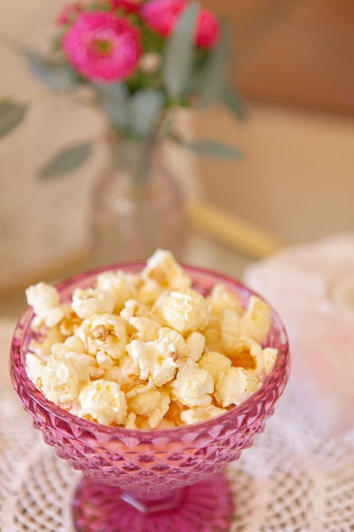 Popcorn in a pink crystal dish from a Boho Chic Baby Shower on Kara's Party Ideas | KarasPartyIdeas.com (53)